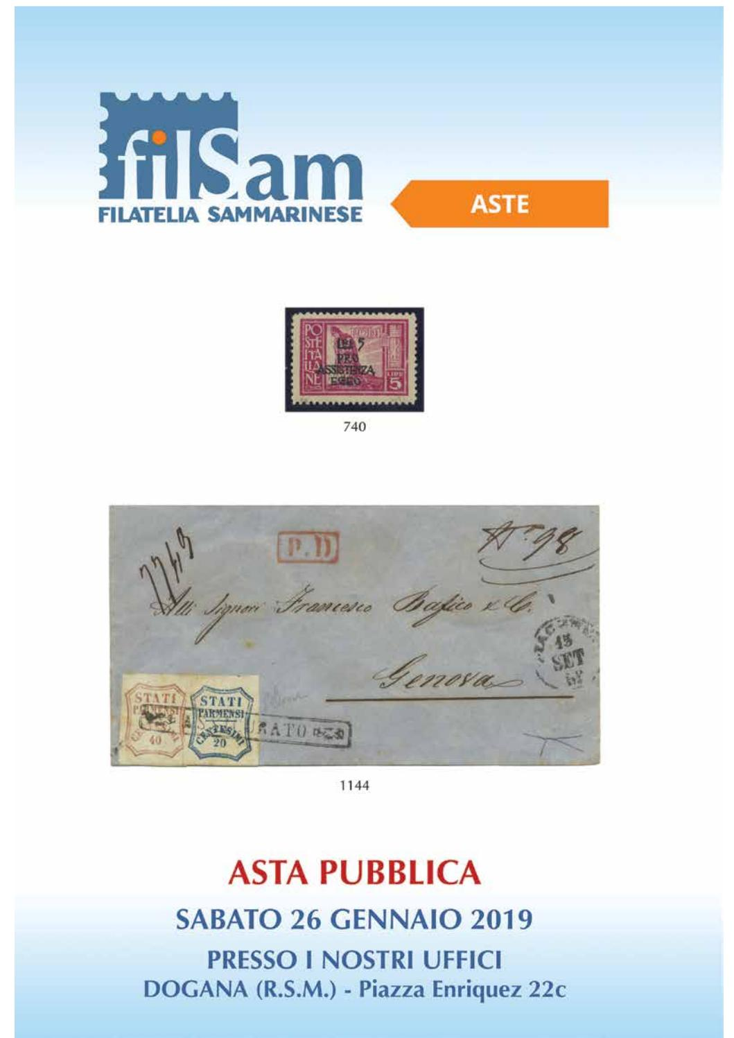 ASTA PUBBLICA 26 GENNAIO 2019 by Filatelia Sammarinese s.r.l.   issuu