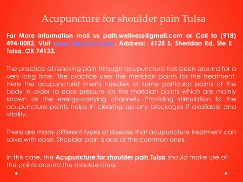 Acupuncture for shoulder pain Tulsa by Teresa Wilkinson - issuu