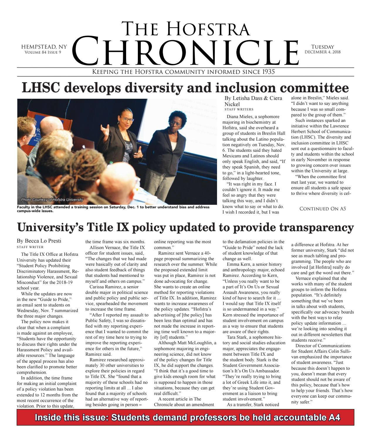 The Hofstra Chronicle December 4, 2018 by The Hofstra