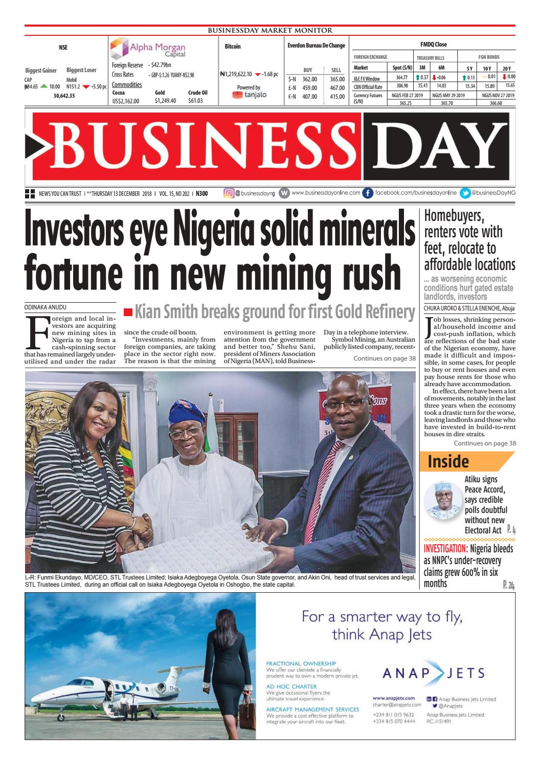 BusinessDay 13 Dec 2018 by BusinessDay - issuu