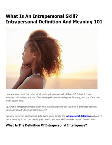 difference between interpersonal and intrapersonal