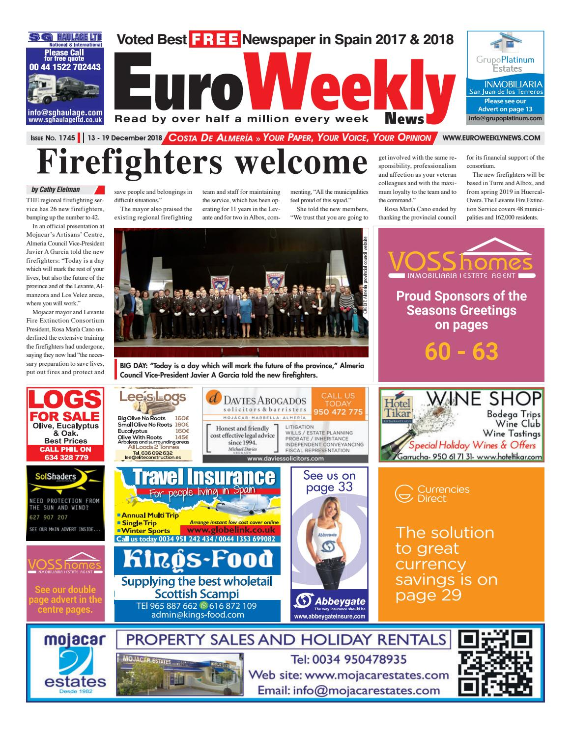 Euro Weekly News - Costa de Almeria 13-19 December 2018 Issue 1745 ... 7bfbd5b1508f7