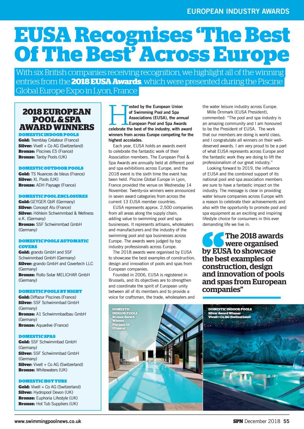 Piscines Es & Spas spn (swimming pool news) december 2018aqua publishing