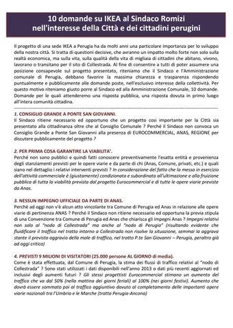 Ikea A Perugia Le Dieci Domande Del Pd Al Sindaco Andrea Romizi By
