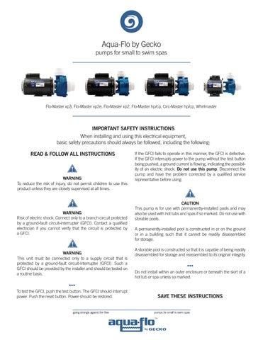Enjoyable Aqua Flo By Gecko Flo Master Xp2E Pump Techbook By Gecko Marketing Wiring Digital Resources Remcakbiperorg