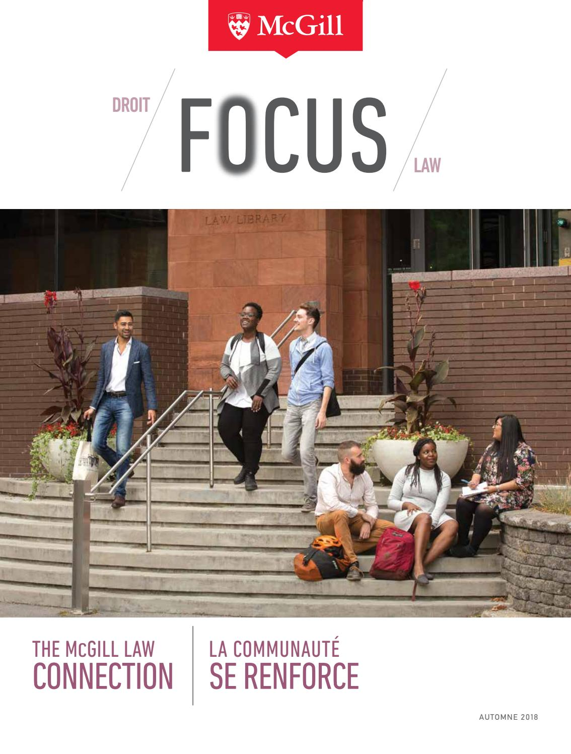 Focus 2018 The Mcgill Law Connection La Communauté Se