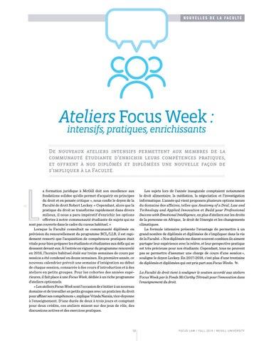Page 12 of Ateliers Focus Week: intensifs, pratiques, enrichissants