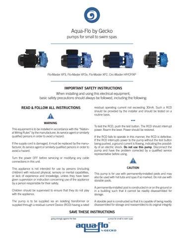Magnificent Aqua Flo By Gecko Flo Master Xp2E Pump Techbook By Gecko Marketing Wiring Digital Resources Remcakbiperorg