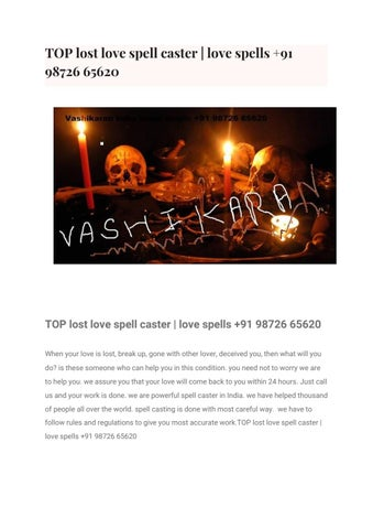 Top Indian Spell Caster |Get Lost Love Back +91 98726 65620 by