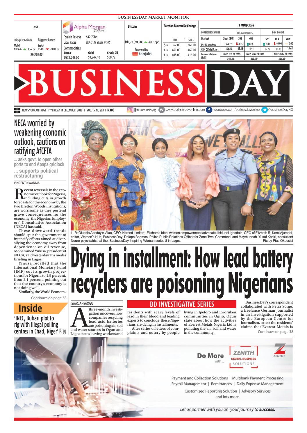 e05060d9b1b BusinessDay 14 Dec 2018 by BusinessDay - issuu