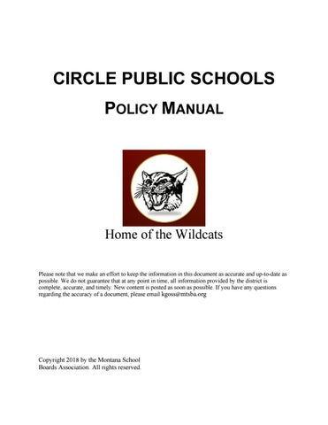Circle Public Schools Policy Manual by Montana School Boards