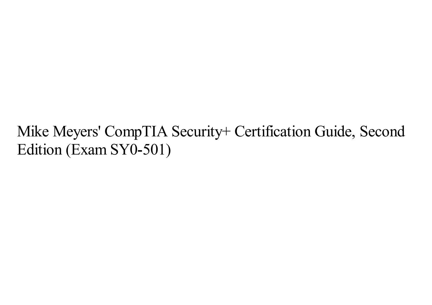 Exam SY0-501 Certification Guide Second Edition Mike Meyers CompTIA Security