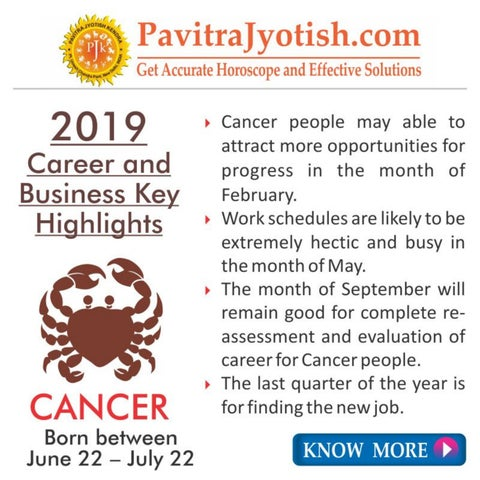 2019 Cancer Career and Business Horoscope by Pavitra Jyotish