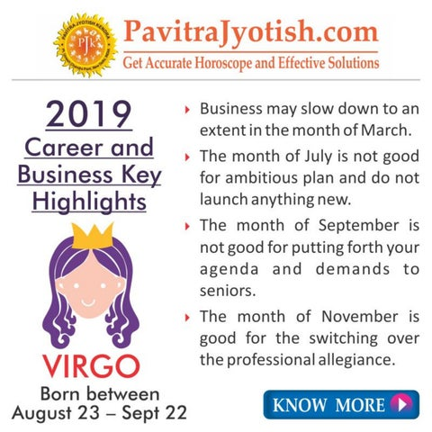 Virgo August 2019 Career Horoscope