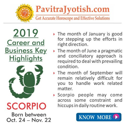 2019 Scorpio Career and Business Horoscope by Pavitra Jyotish Kendra