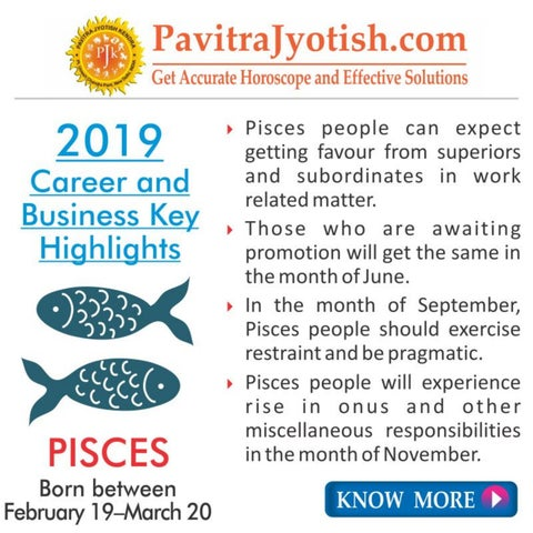 2019 Pisces Career and Business Horoscope by Pavitra Jyotish