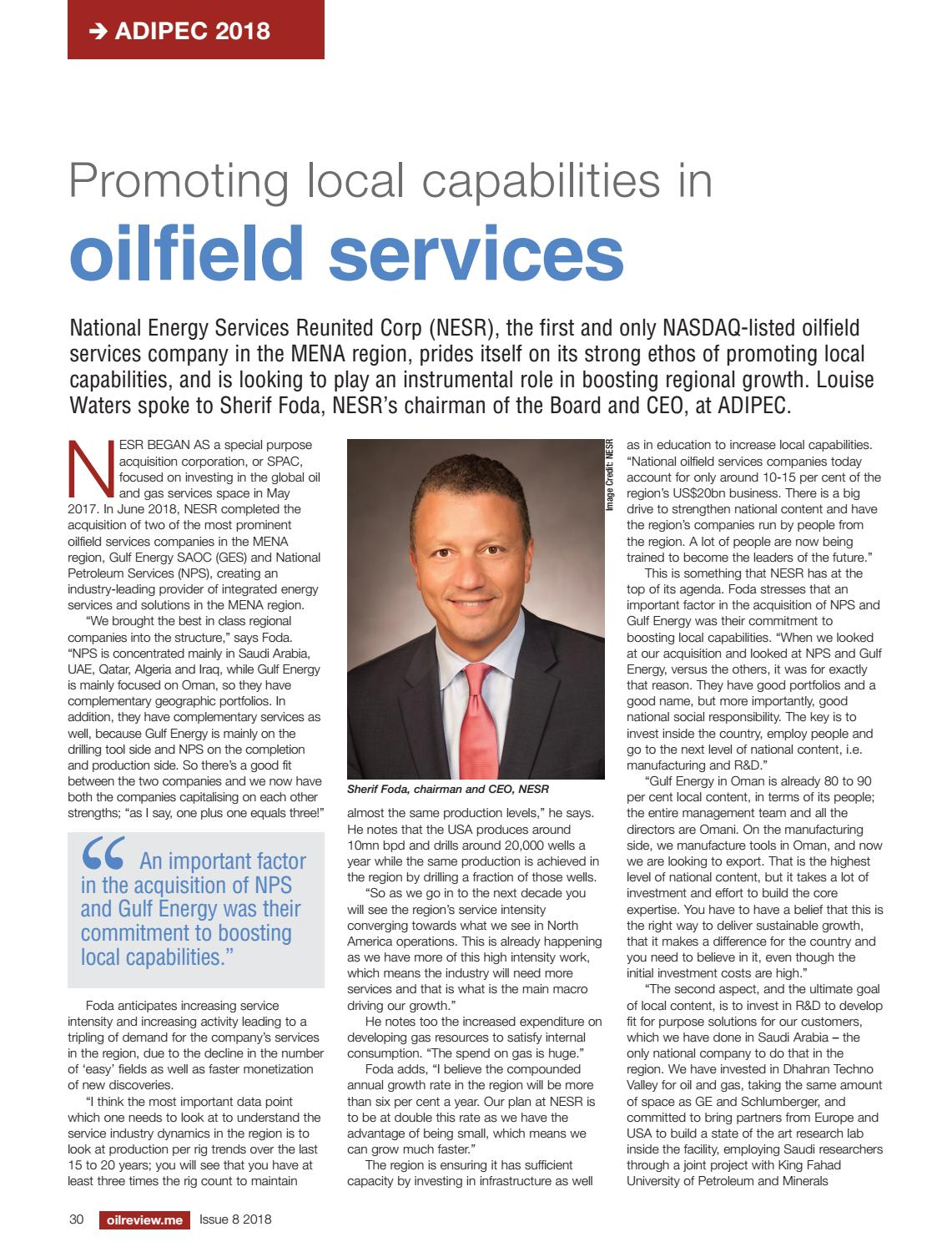 Oil Review Middle East Issue 8 2018 by Alain Charles