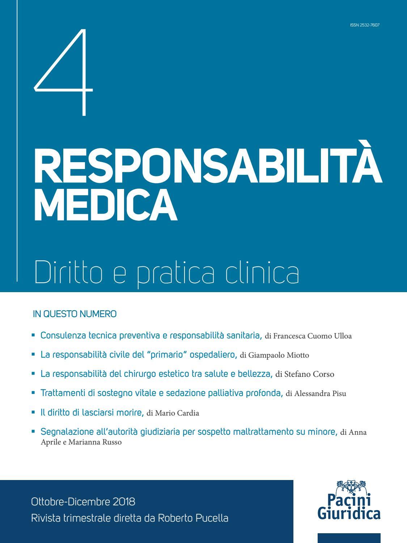 Responsabilita Medica 4 2018 By Pacini Editore Issuu