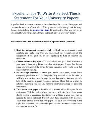 Tips To Write A Perfect Thesis Statement By Darcyzara00 - Issuu