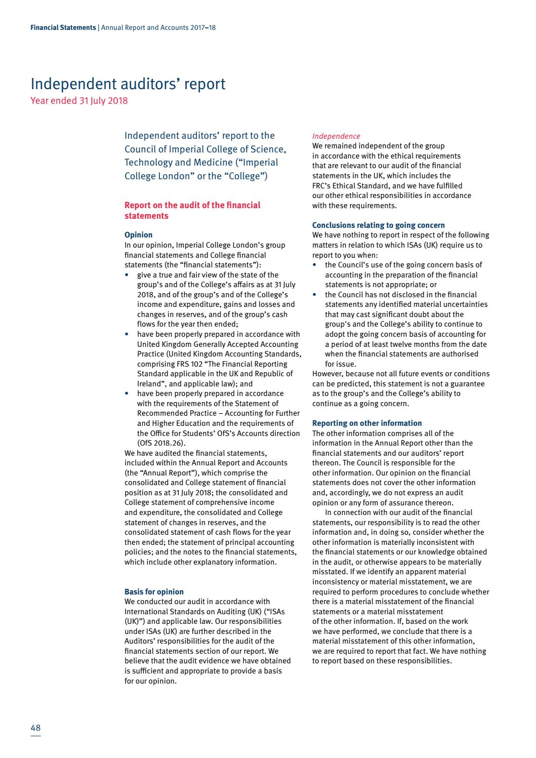 Imperial College London Annual Report and Accounts | 2017-18