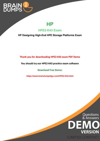 New Year Offer 2019 - Purchase HP HPE2-K43 Exam Dumps And Get 20