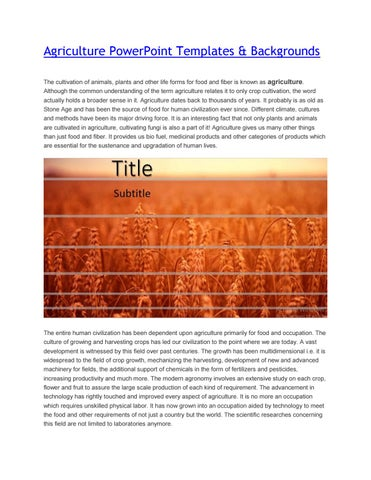 Agriculture Powerpoint Template By Slideorbit Issuu
