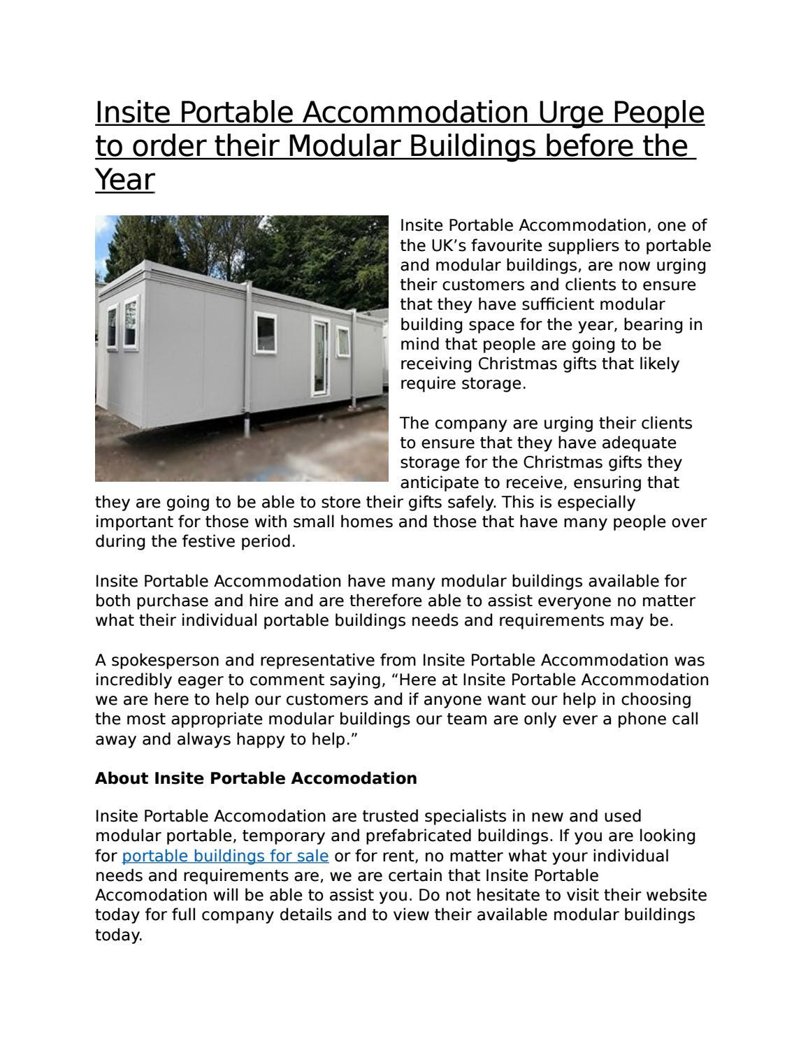 Insite Portable Accommodation Urge