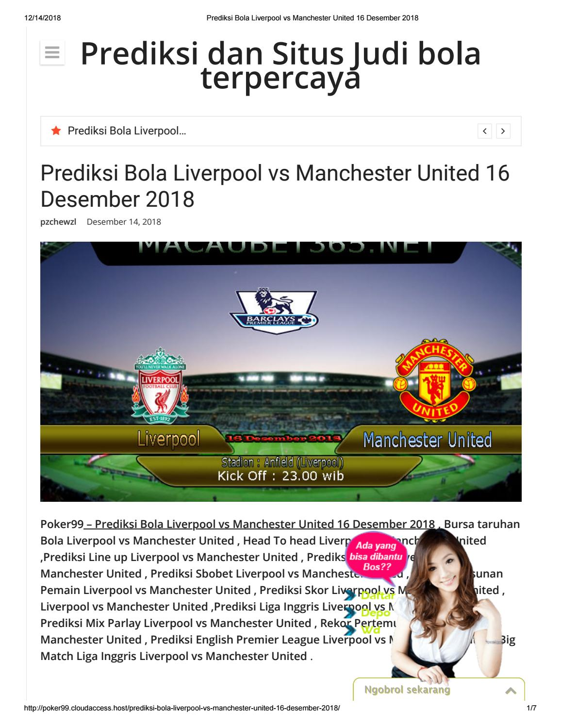 Prediksi Bola Liverpool Vs Manchester United 16 12 2018 By