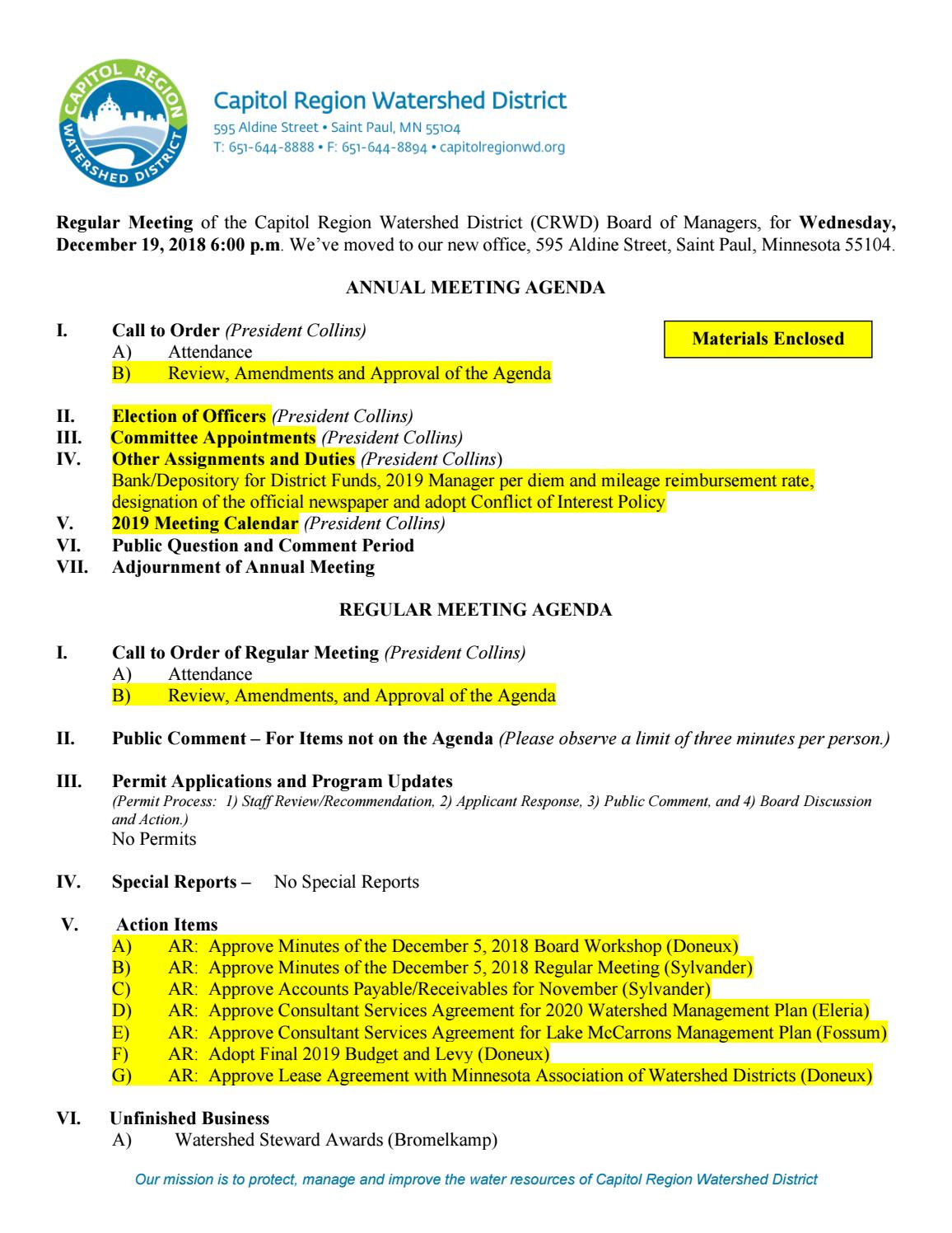December 19-Annual Meeting Board Packet by Capitol Region