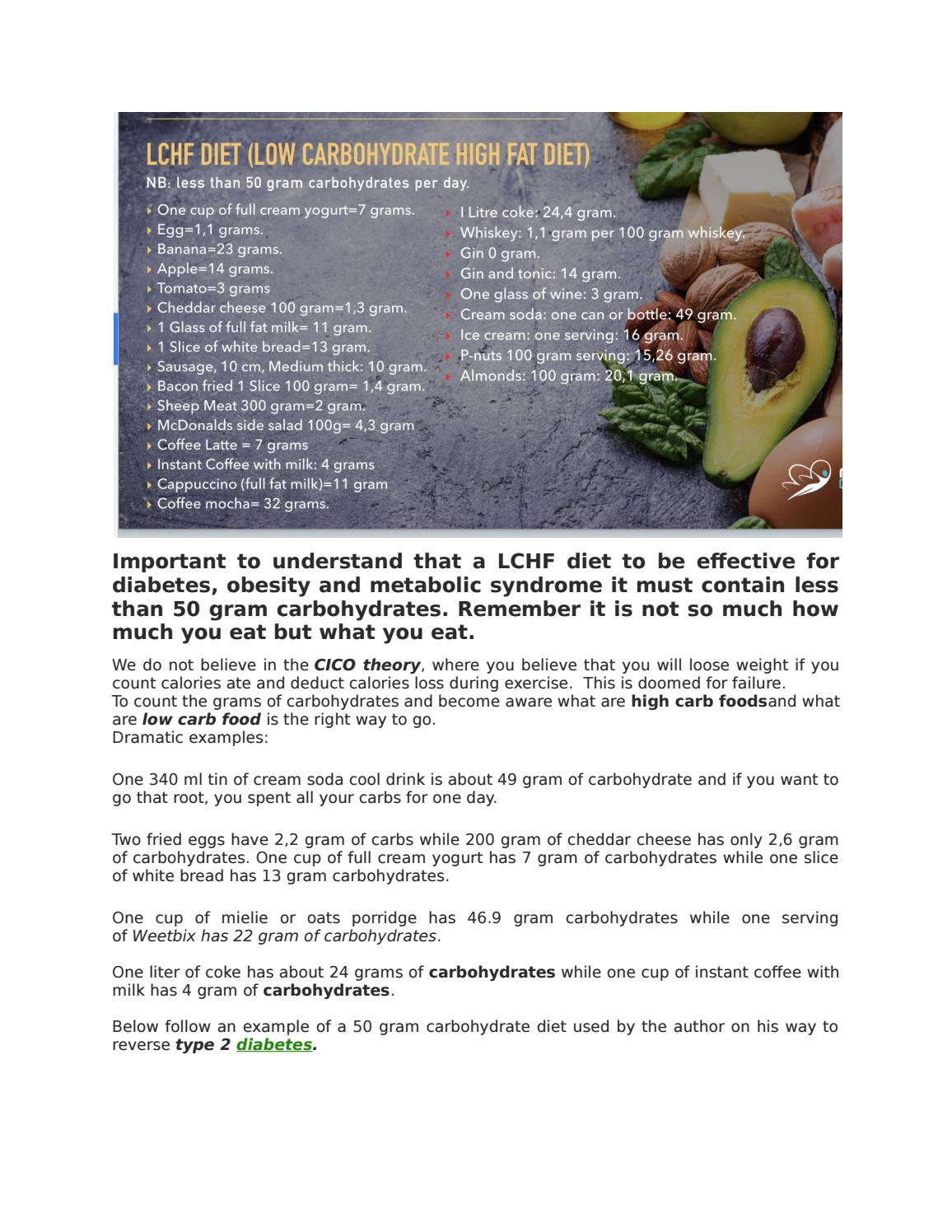 BELOW FOLLOW AN EXAMPLE OF A 50 GRAM CARBOHYDRATE DIET USED by Obesity &  Diabetes Management - issuu