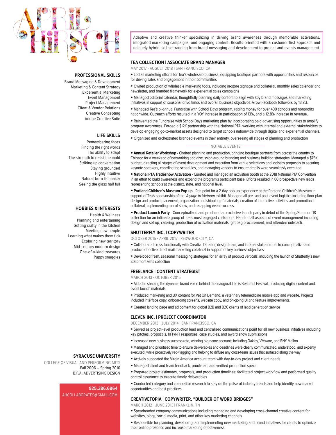 April Hirsch | Resume by April hirsch - issuu