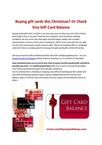 Buying Gift Cards This Christmas Or Check Visa Gift Card Balance By Vanilagifts Issuu