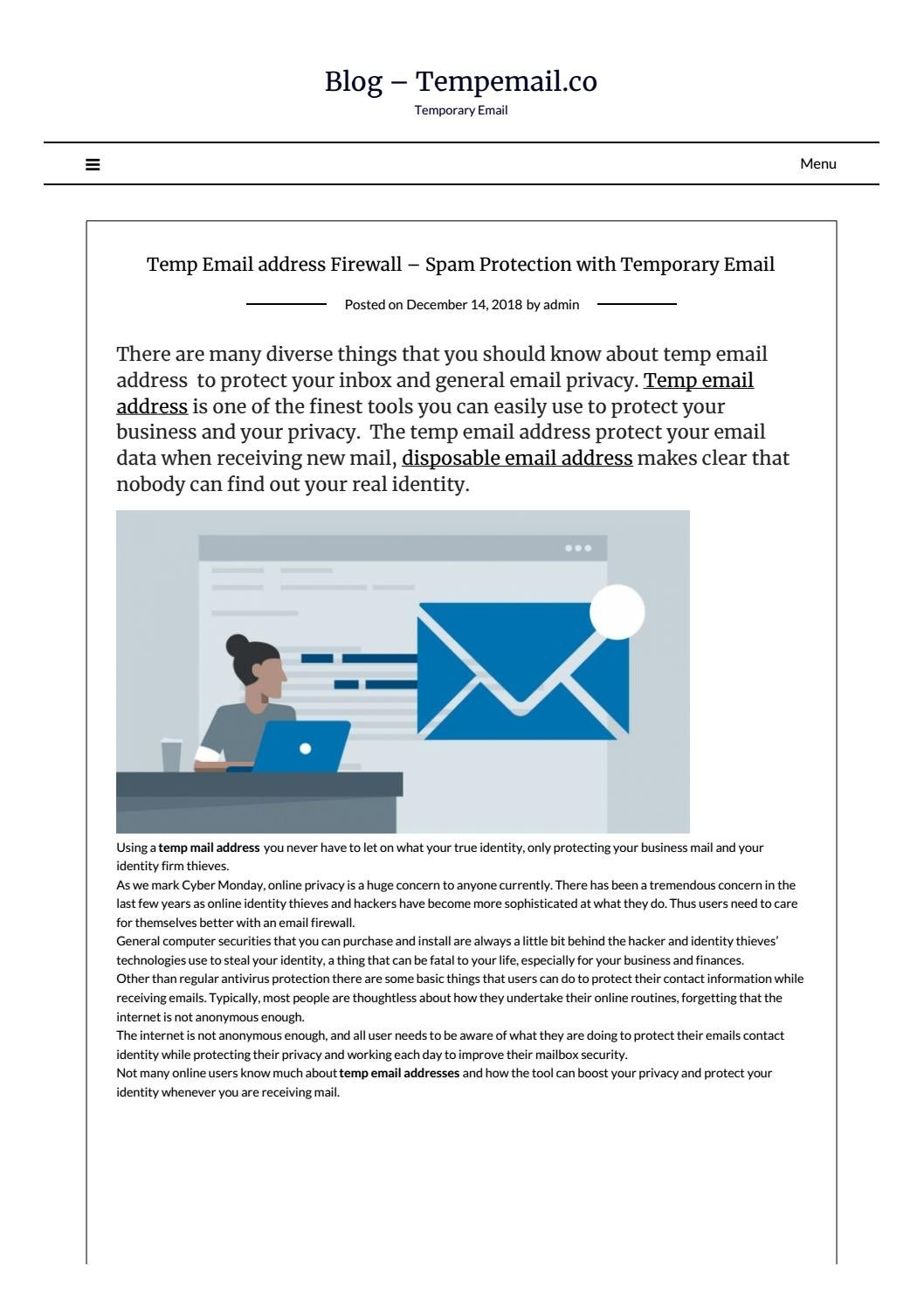 Temp Email address Firewall – Spam Protection with Temporary