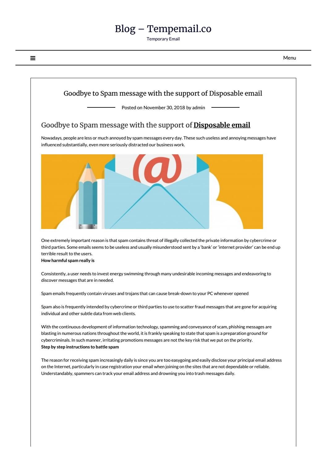Goodbye to Spam message with the support of Disposable email