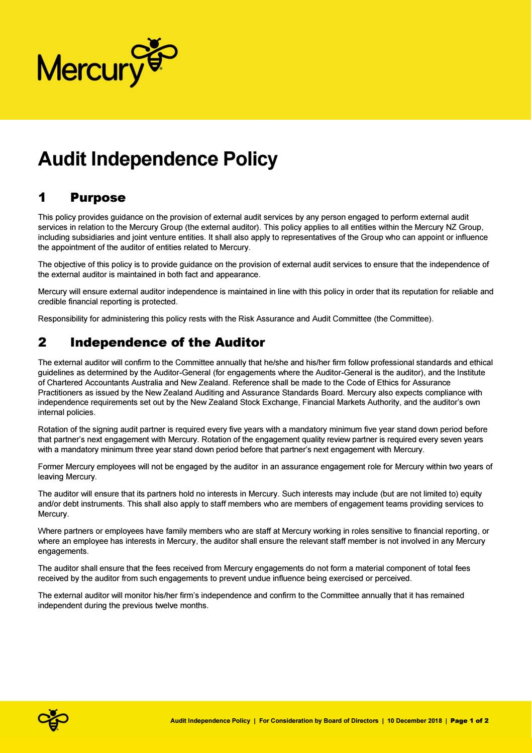 Audit Independence Policy by Mercury - issuu