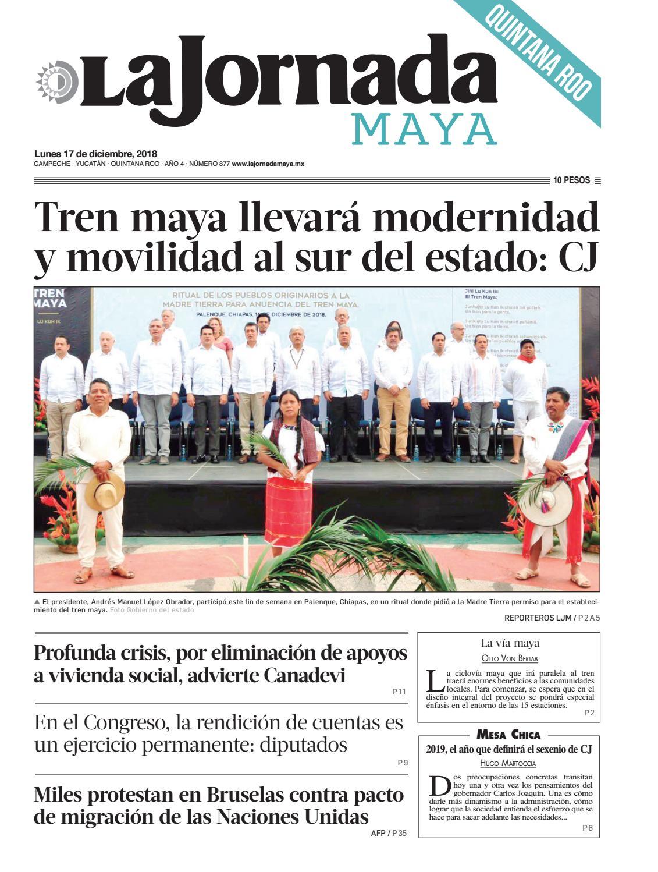 9eccc92e0c5ed La jornada Maya · lunes 17 de diciembre de 2018 by La Jornada Maya - issuu