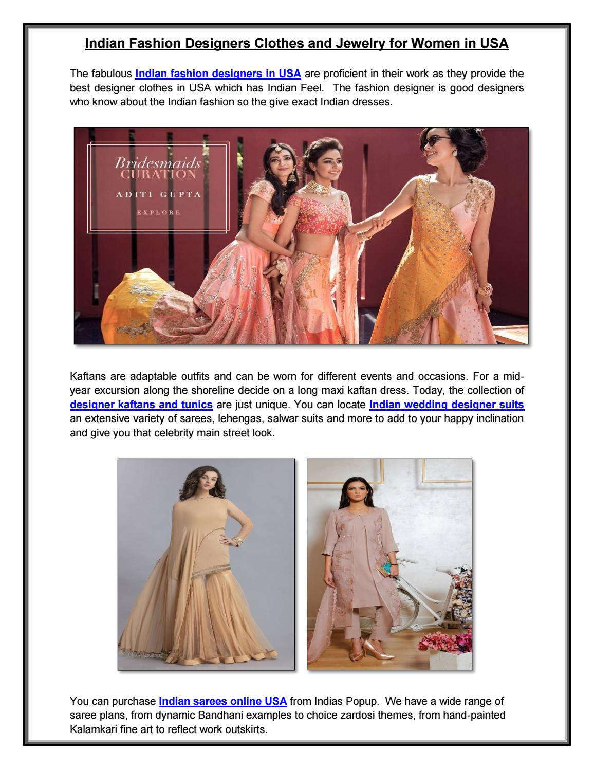 Indian Fashion Designers Clothes And Jewelry For Women In Usa By Indias Popup Issuu