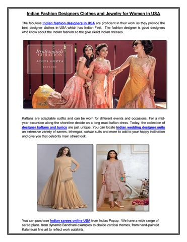 e9a764fe12 Indian Fashion Designers Clothes and Jewelry for Women in USA. from Indias  Popup