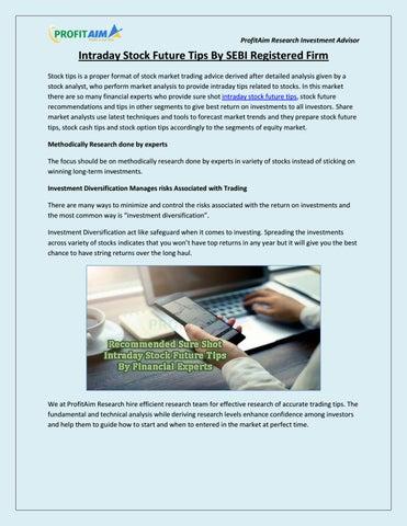 Intraday Stock Future Tips by SEBI Registered Firm – ProfitAim