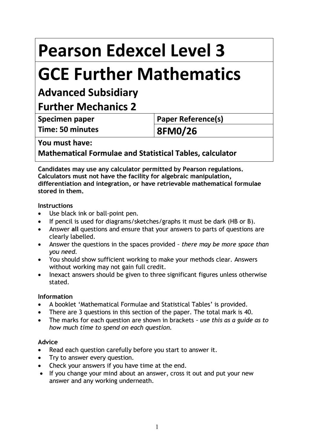 AS Further Mathematics: Advanced Subsidiary Further Mechanics 2 by