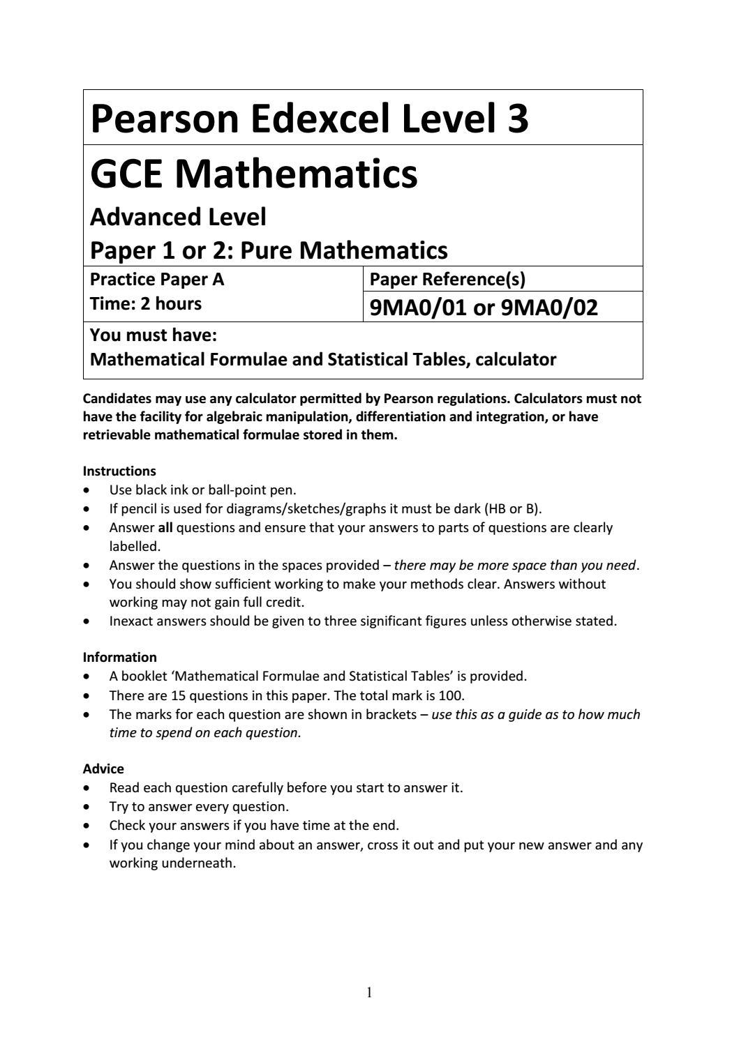 01a A Level Mathematics Practice Paper A - Pure Mathematics by