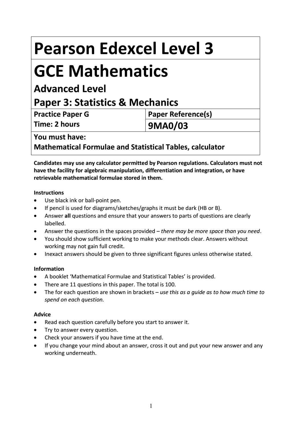 07a A Level Mathematics Practice Paper G - Statistics and