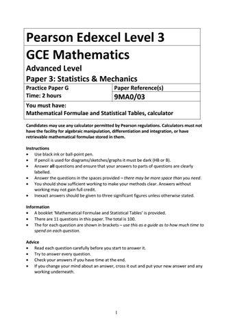 07a A Level Mathematics Practice Paper G - Statistics and Mechanics