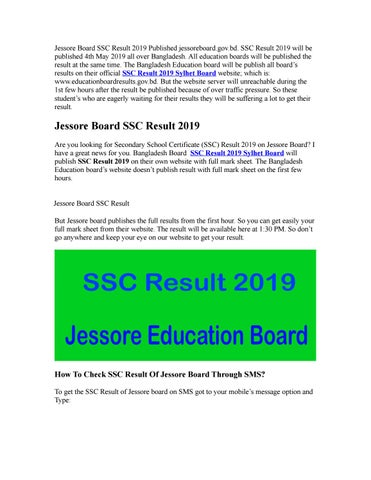 Jessore Board SSC Result 2019 by Kabir - issuu