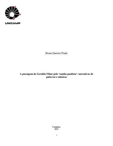 4f58f22cd1 A passagem de Geraldo Filme pelo  samba paulista   narrativas de ...
