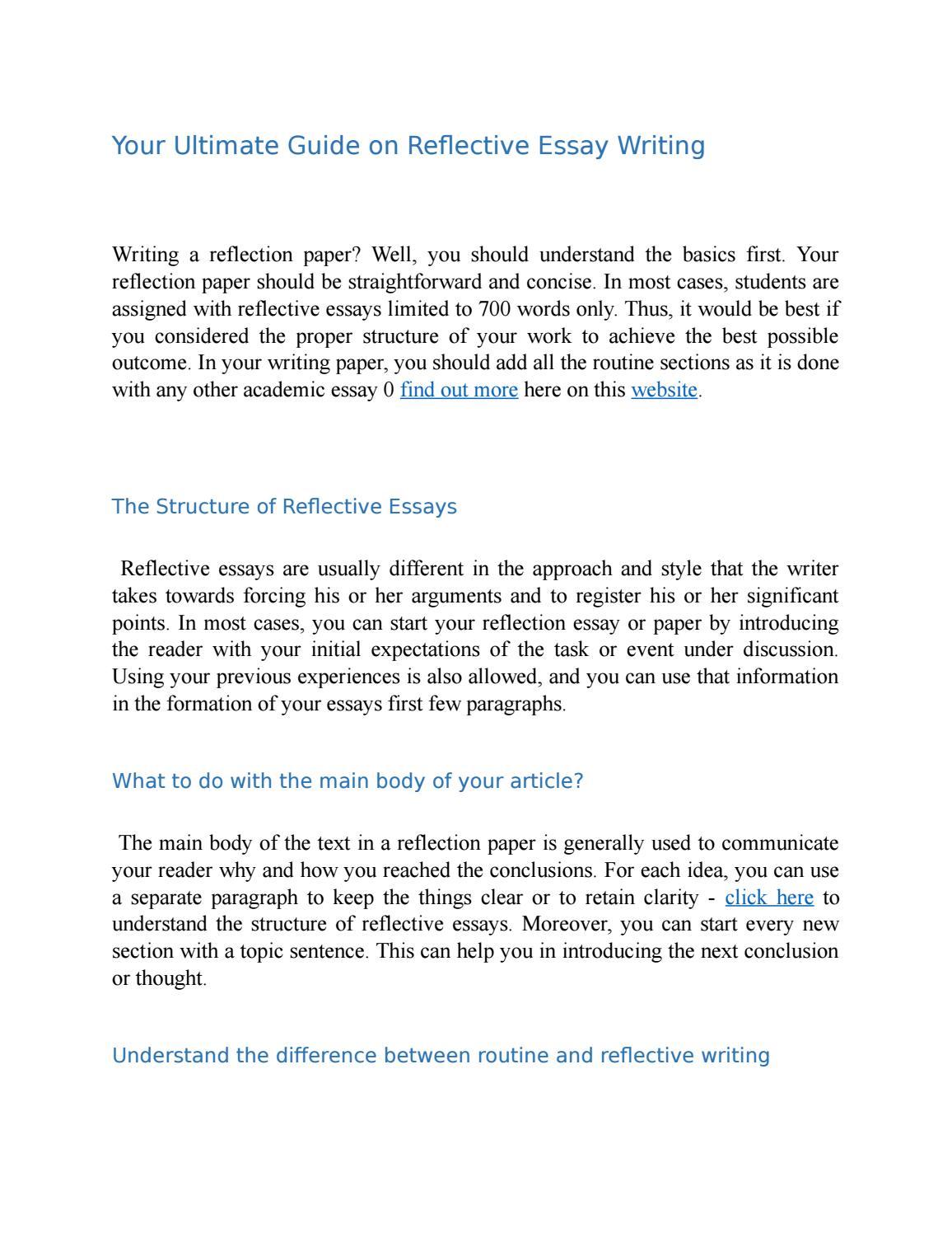 reflection on essay writing