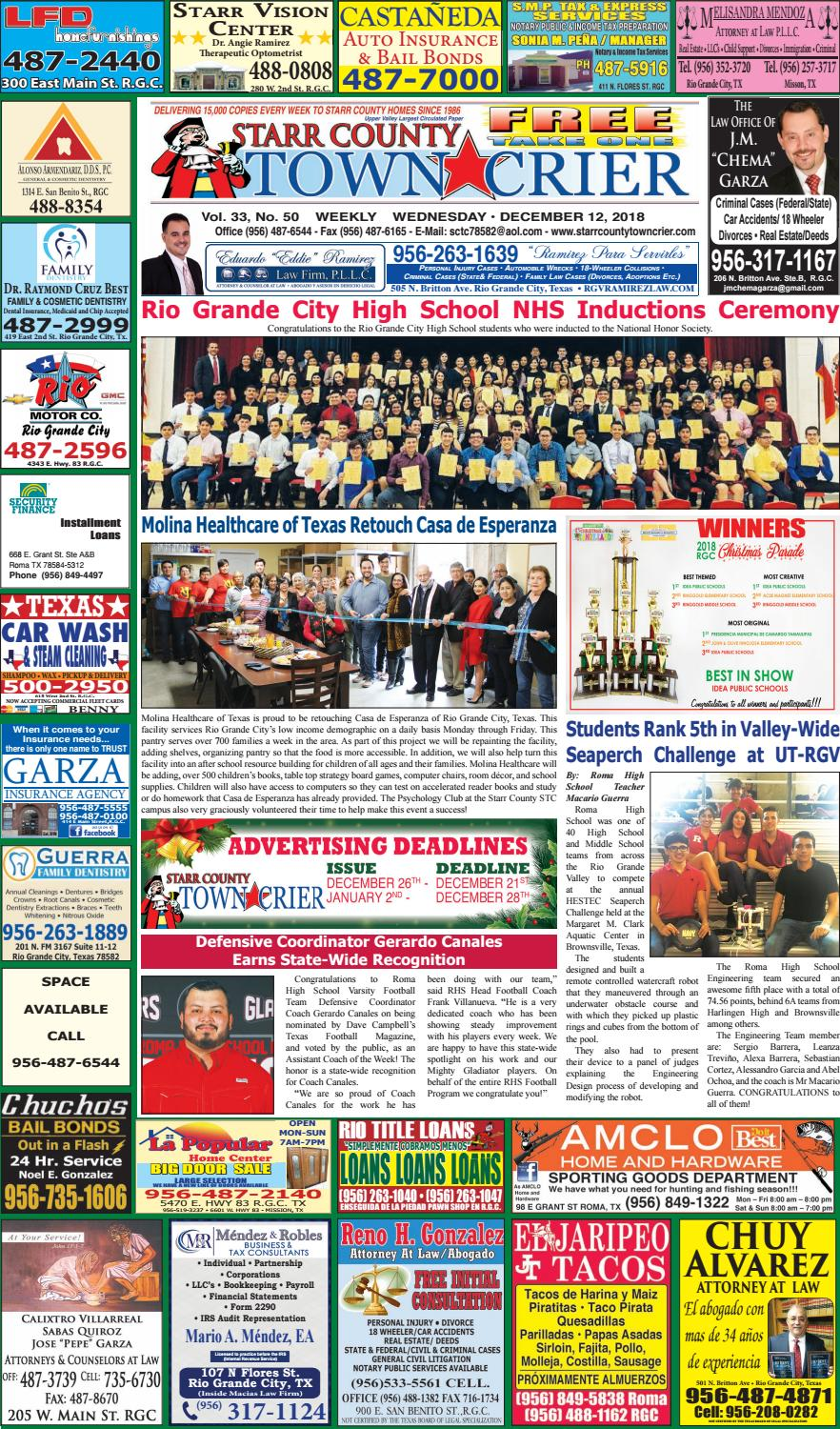 December 12, 2018 by Starr County Town Crier - issuu