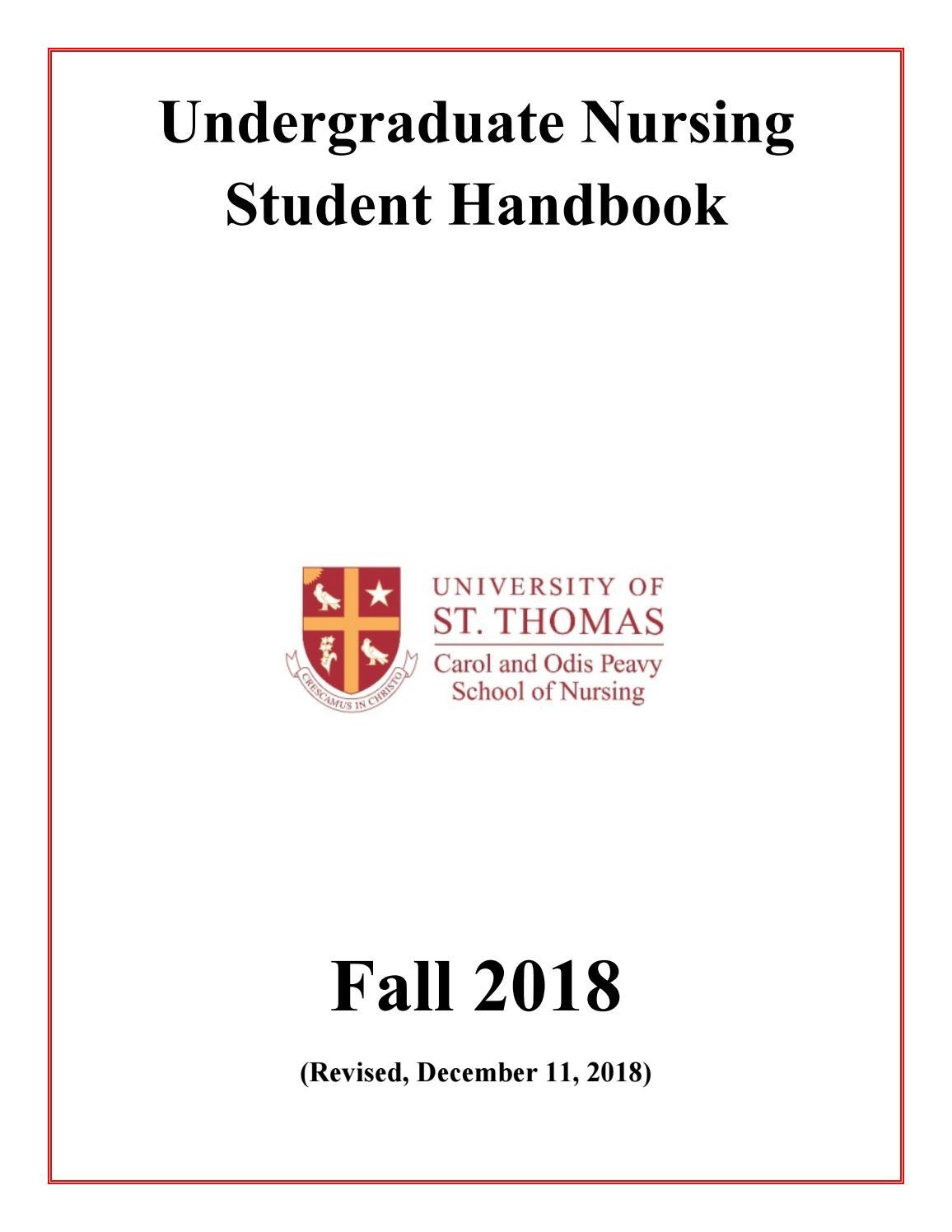 University of St  Thomas Peavy School of Nursing Handbook