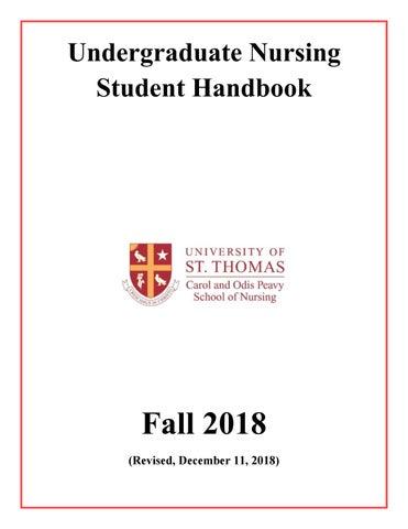 University of St  Thomas Peavy School of Nursing Handbook December