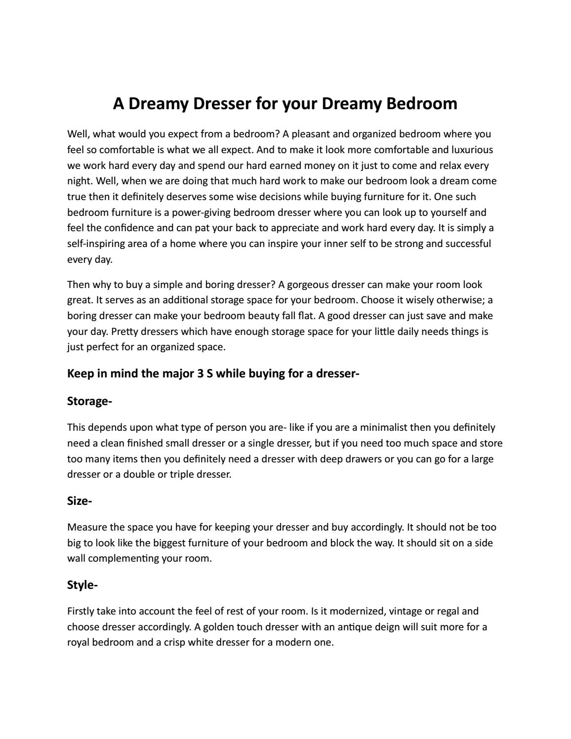 A Dreamy Dresser For Your Dreamy Bedroom By Sleep Center Issuu